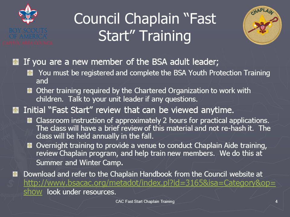 Council Chaplain Fast Start Training