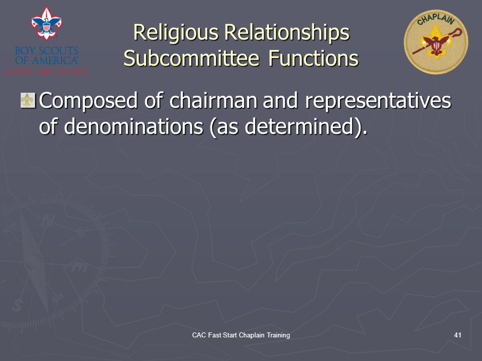 Religious Relationships Subcommittee Functions