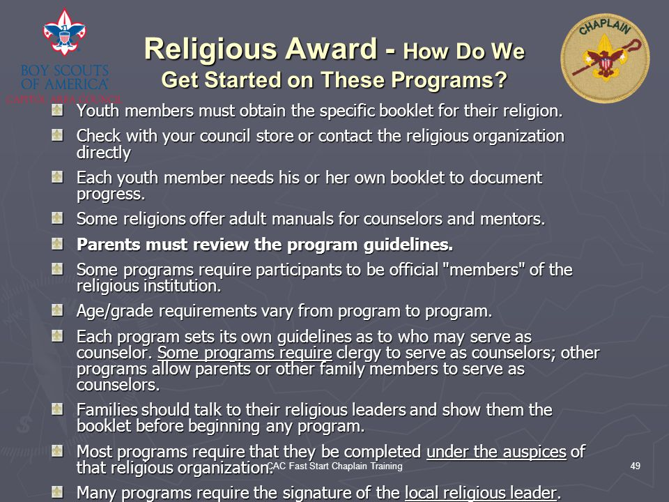 Religious Award - How Do We Get Started on These Programs