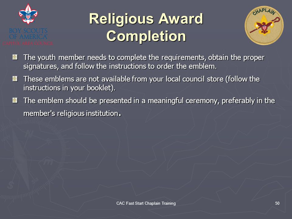 Religious Award Completion
