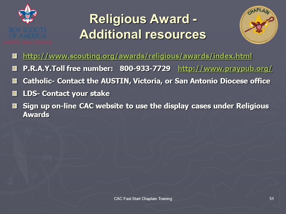 Religious Award - Additional resources