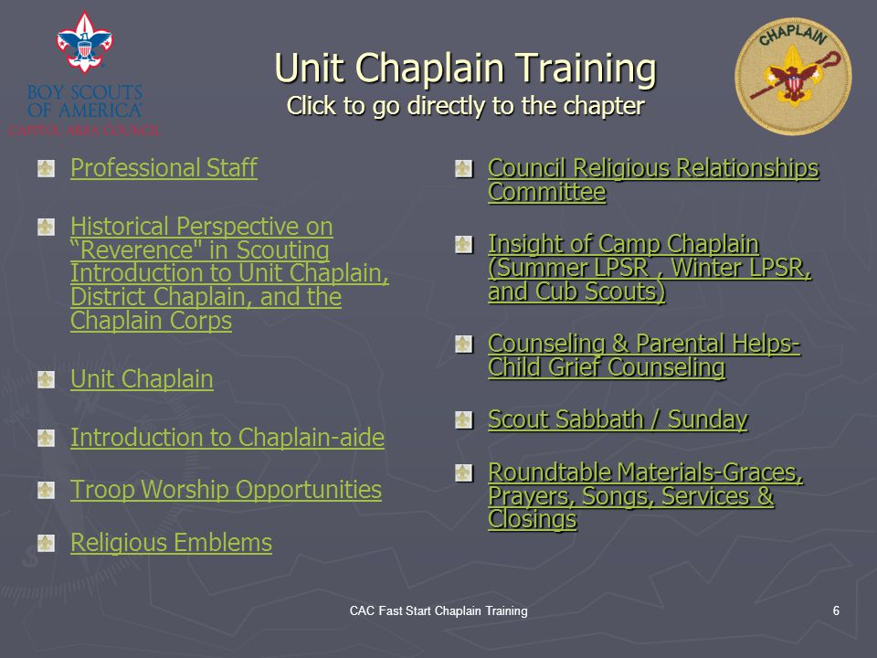 Unit Chaplain Training Click to go directly to the chapter