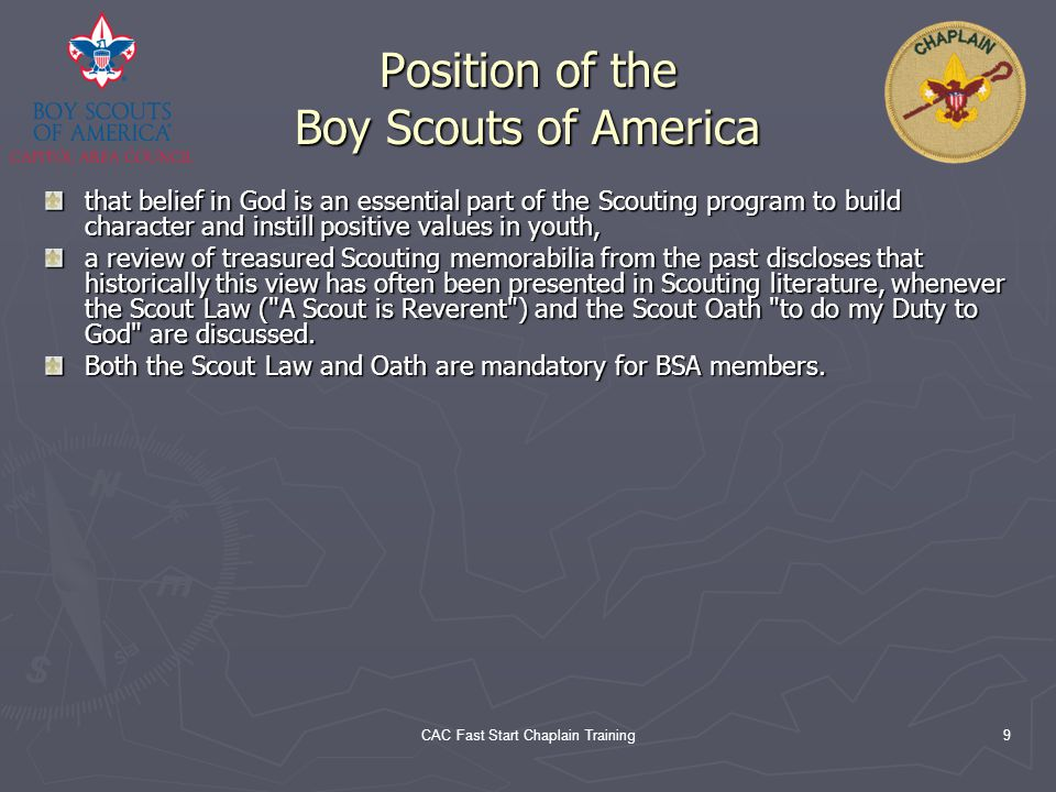 Position of the Boy Scouts of America