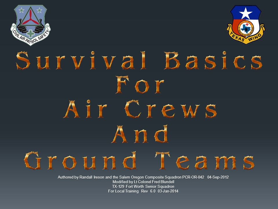 Authored by Randall Ireson and the Salem Oregon Composite Squadron PCR-OR-042 04-Sep-2012