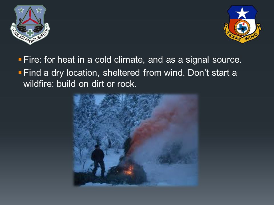 Fire: for heat in a cold climate, and as a signal source.