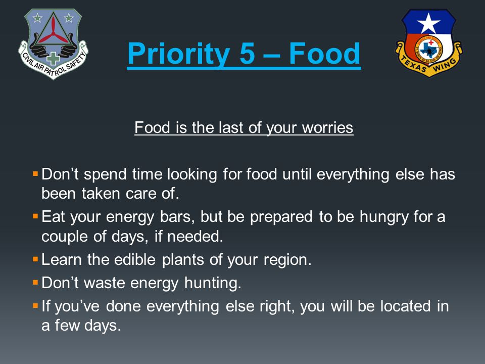 Food is the last of your worries