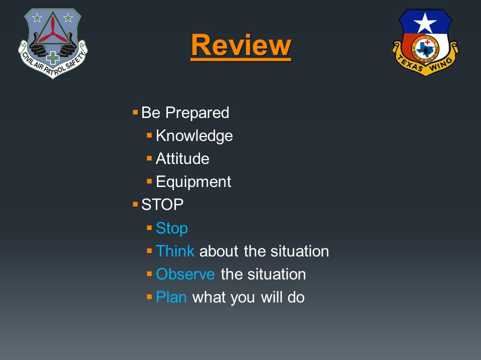 Review Be Prepared Knowledge Attitude Equipment STOP Stop