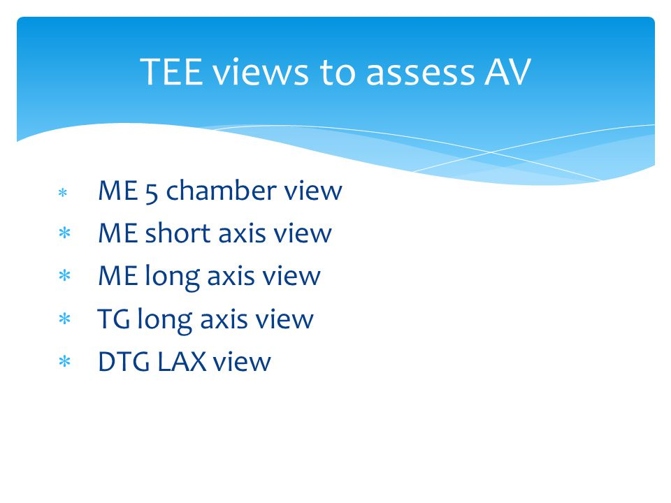TEE views to assess AV ME short axis view ME long axis view
