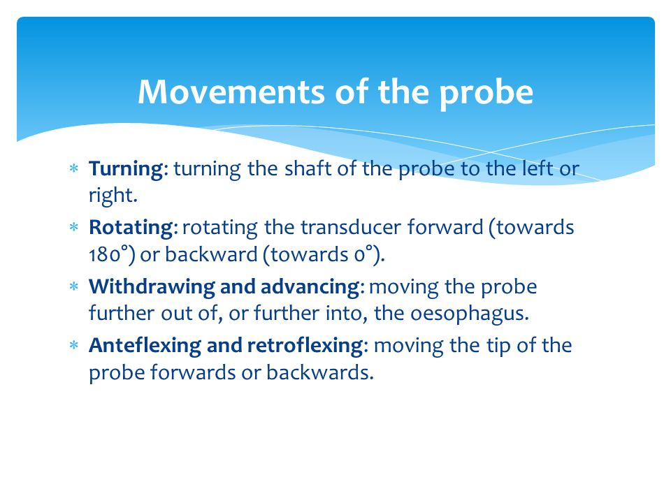 Movements of the probe Turning: turning the shaft of the probe to the left or right.
