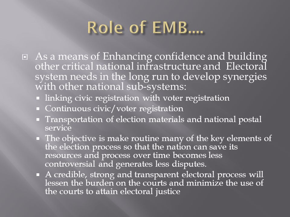 Role of EMB....