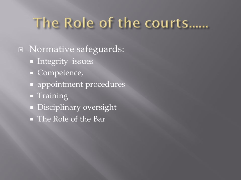 The Role of the courts...... Normative safeguards: Integrity issues