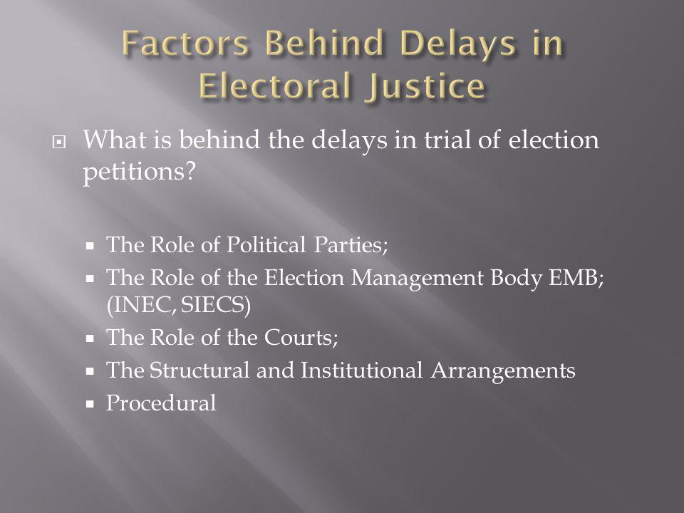 Factors Behind Delays in Electoral Justice