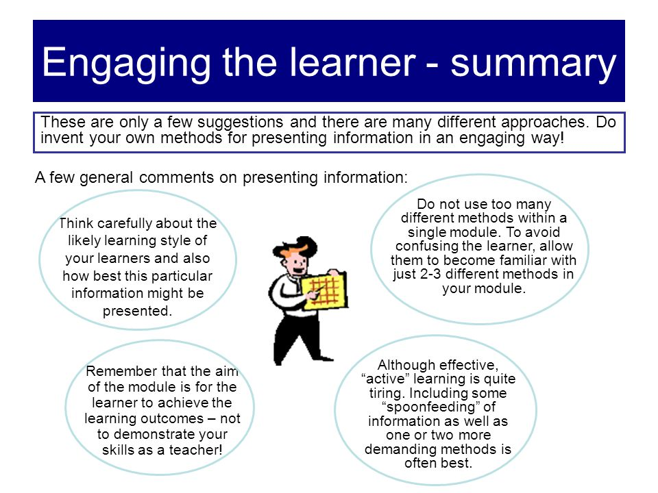 Engaging the learner - summary