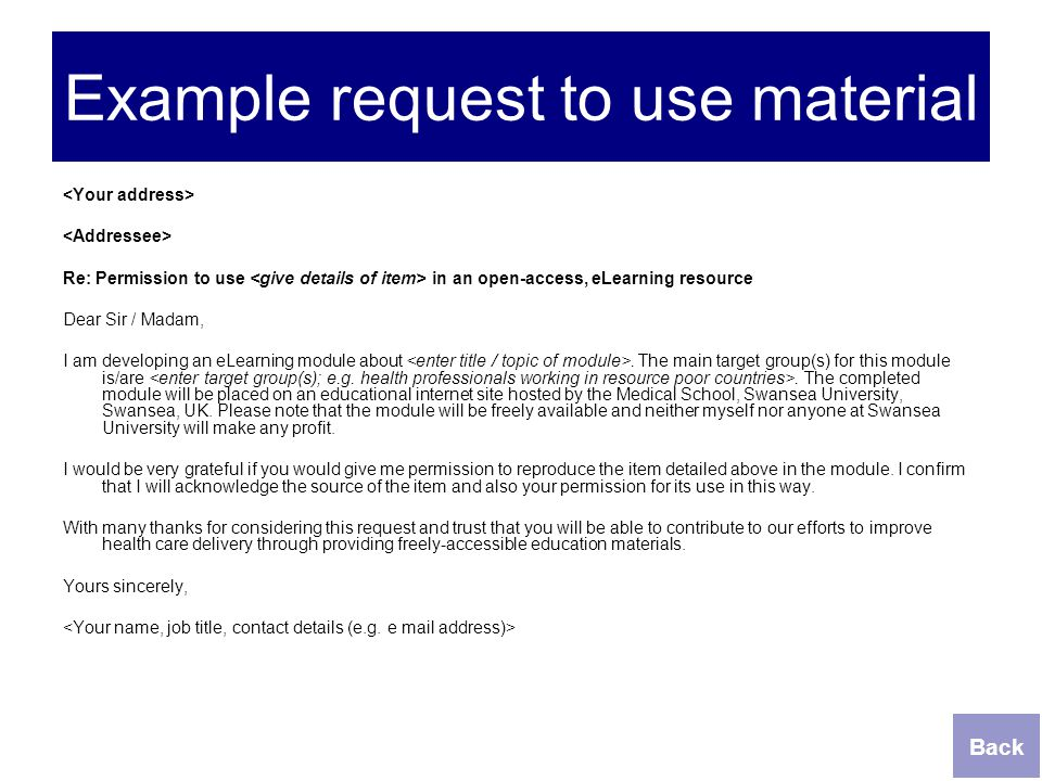 Example request to use material
