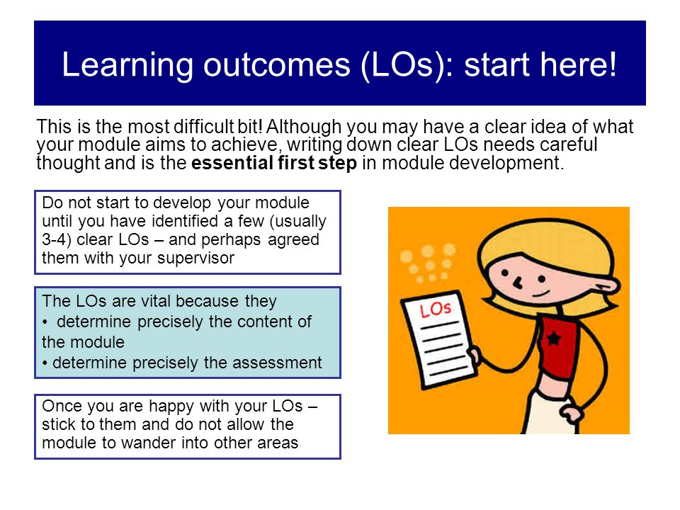 Learning outcomes (LOs): start here!