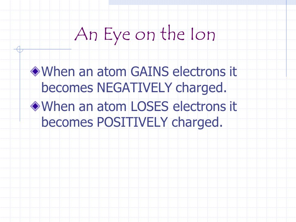 An Eye on the Ion When an atom GAINS electrons it becomes NEGATIVELY charged.