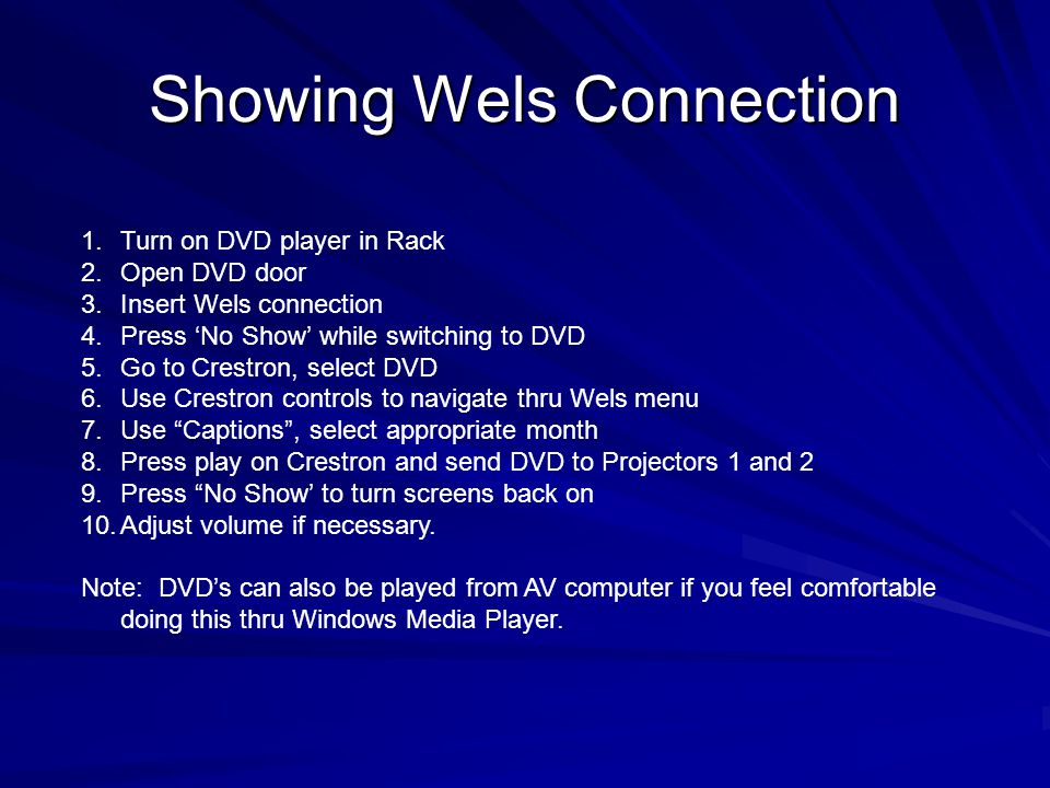 Showing Wels Connection