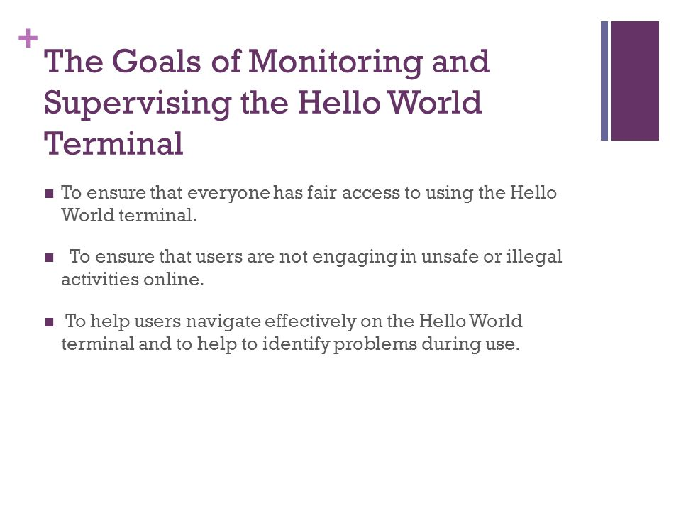 The Goals of Monitoring and Supervising the Hello World Terminal