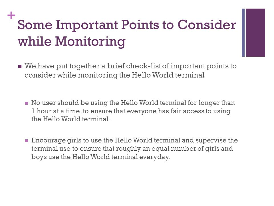 Some Important Points to Consider while Monitoring