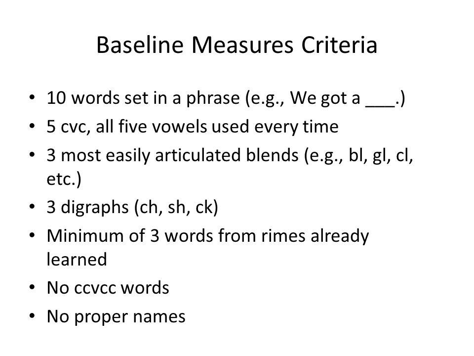 Baseline Measures Criteria