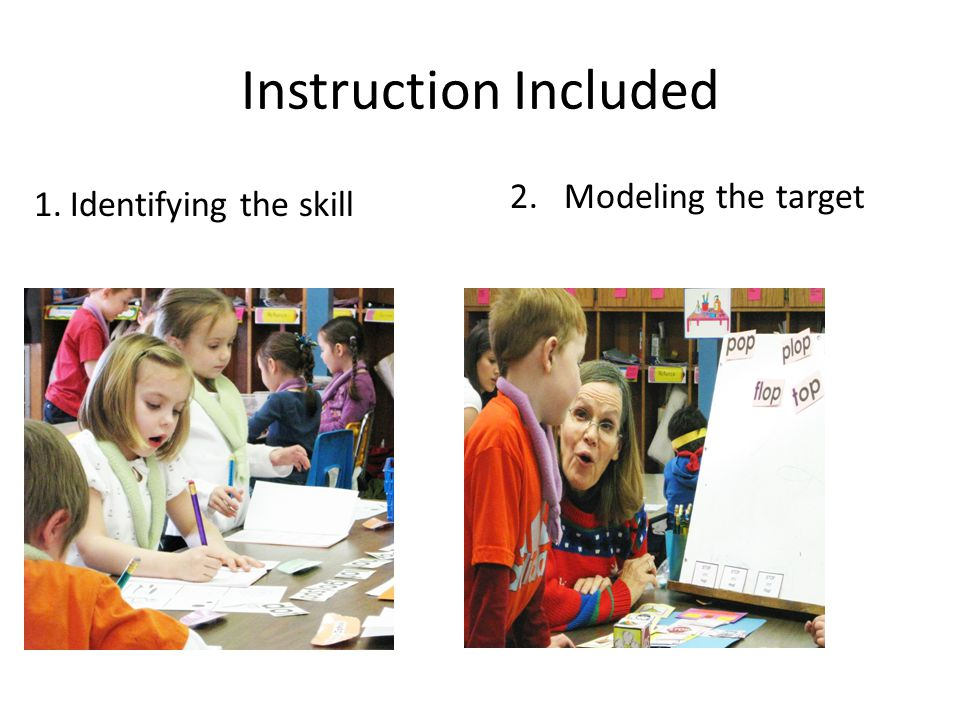 Instruction Included Modeling the target Identifying the skill