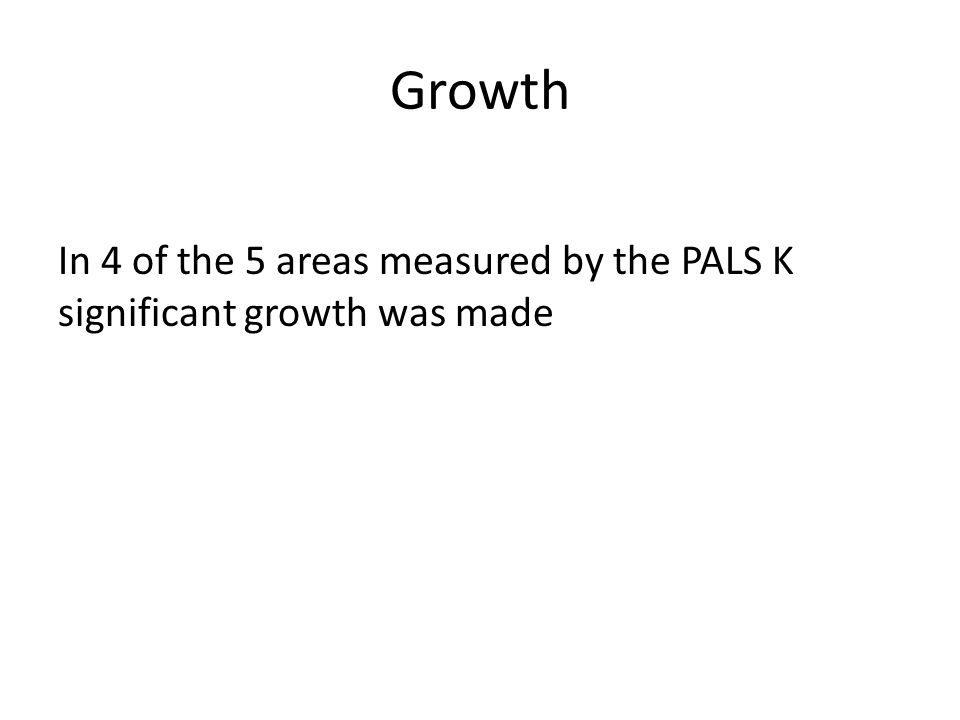 Growth In 4 of the 5 areas measured by the PALS K significant growth was made