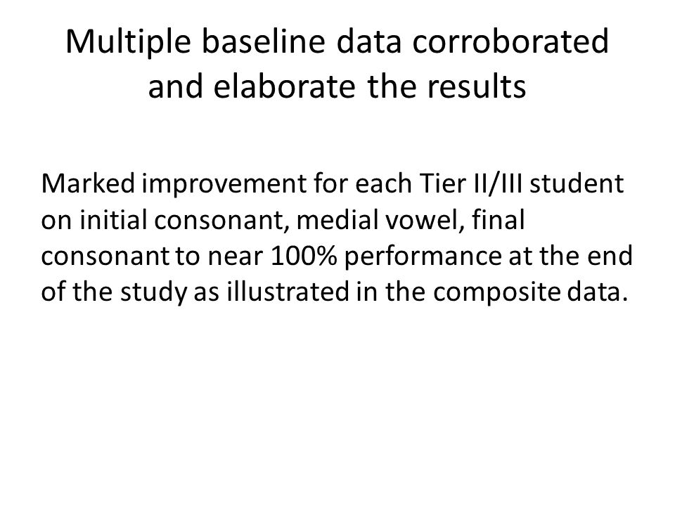 Multiple baseline data corroborated and elaborate the results