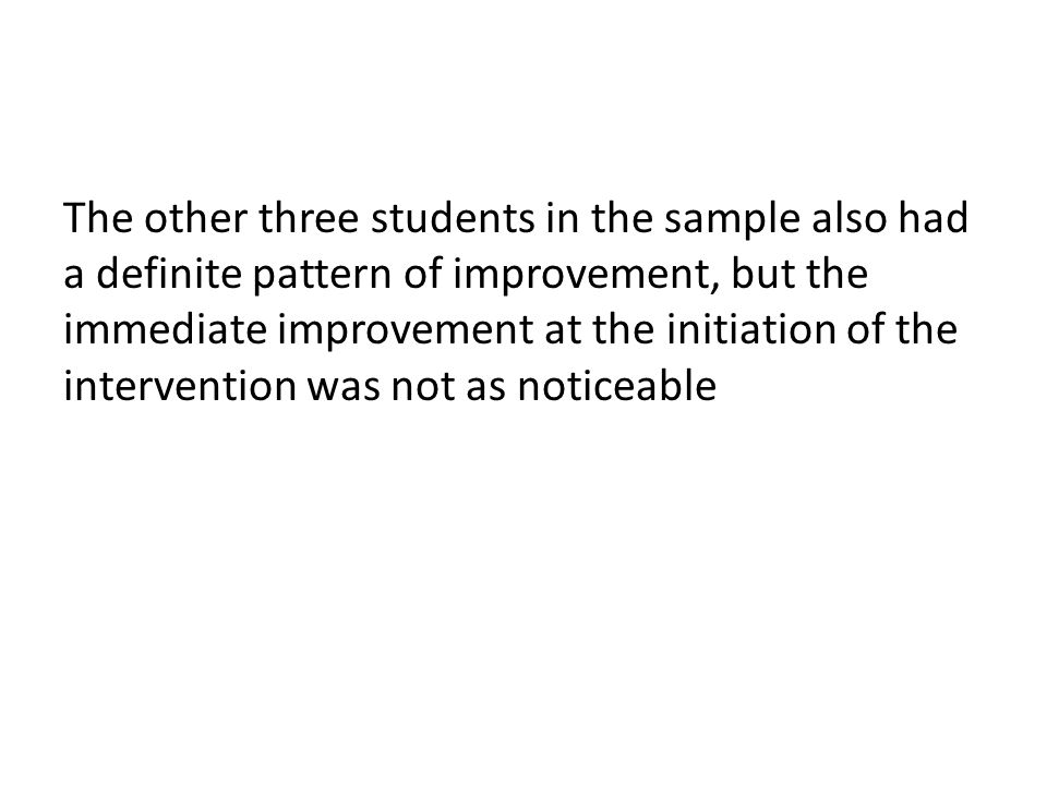 The other three students in the sample also had a definite pattern of improvement, but the immediate improvement at the initiation of the intervention was not as noticeable