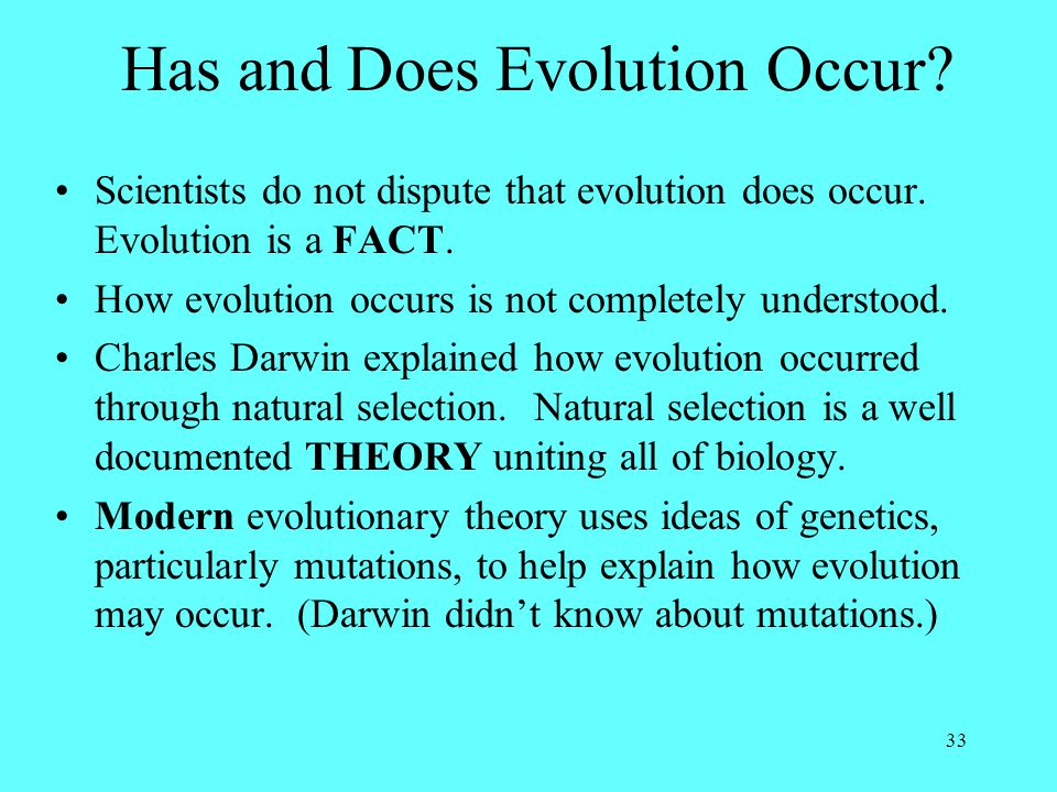 Has and Does Evolution Occur