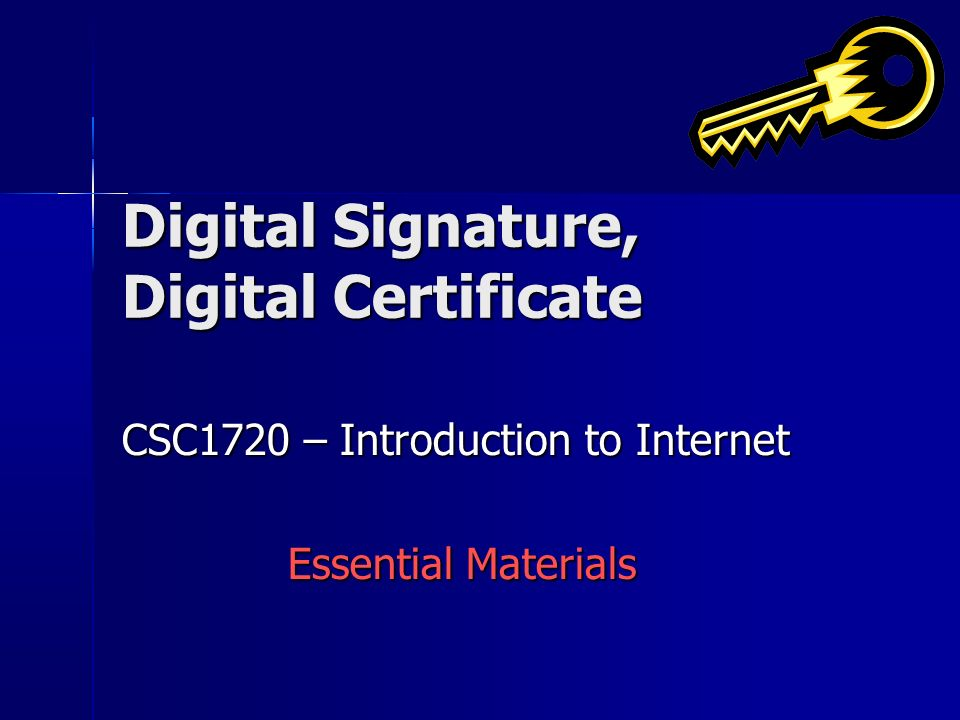 Digital Signature, Digital Certificate