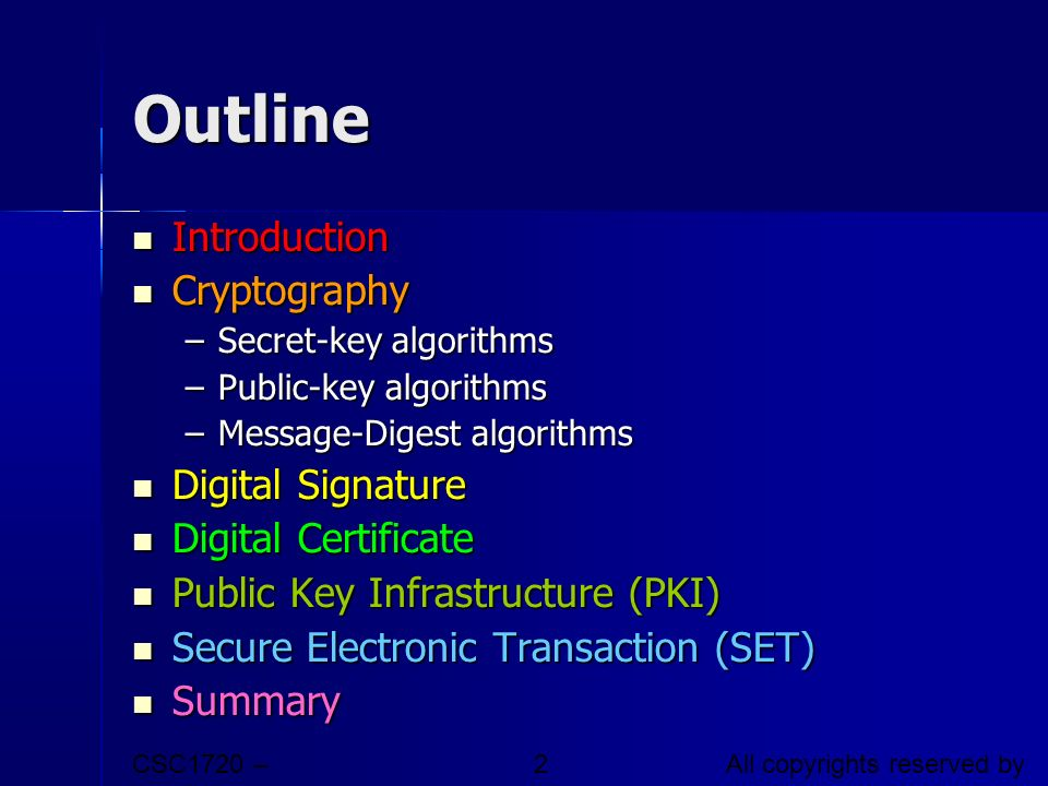 Outline Introduction Cryptography Digital Signature