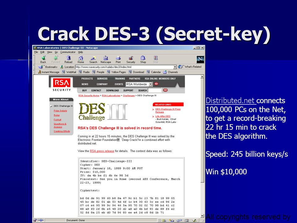 Crack DES-3 (Secret-key)