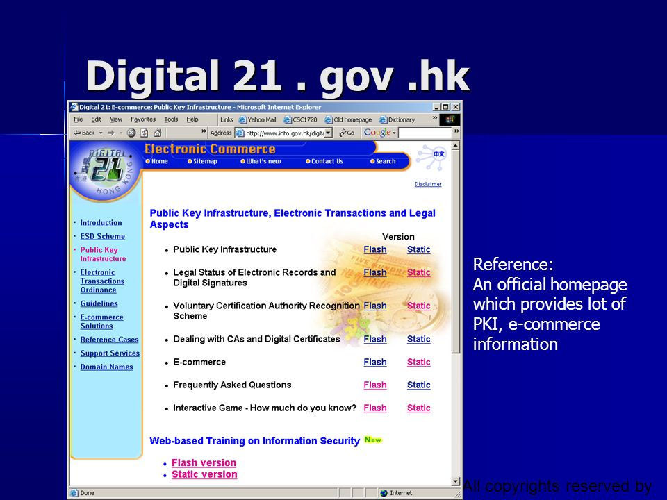 Digital 21 . gov .hk Reference: An official homepage