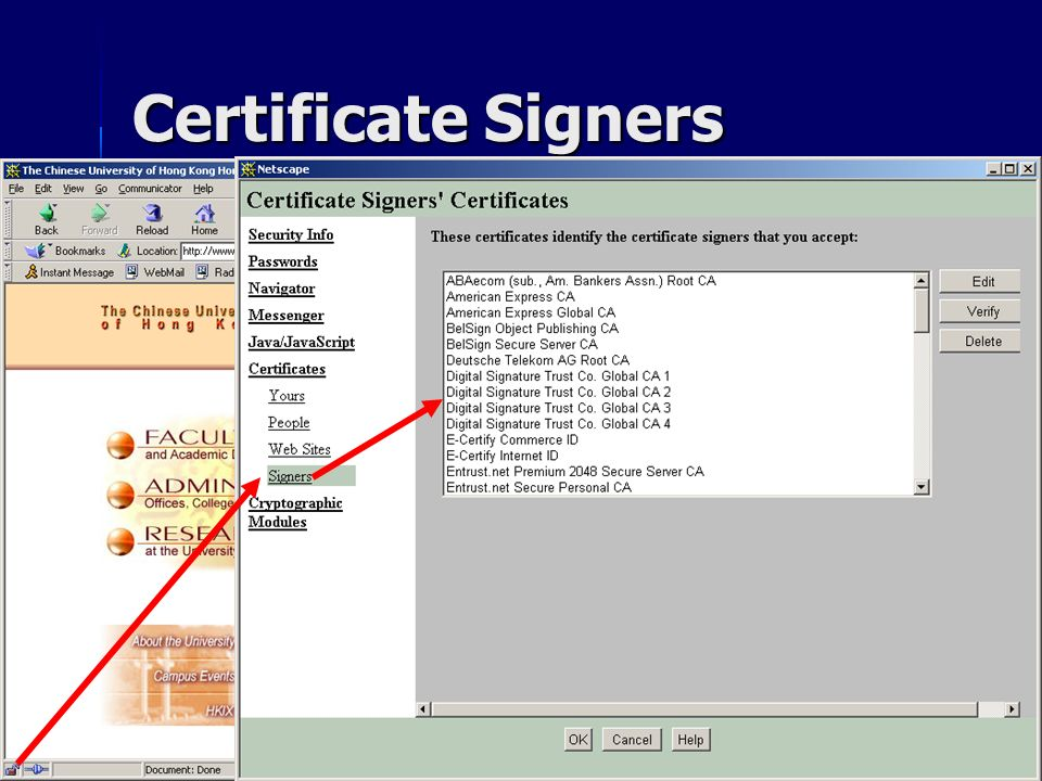 Certificate Signers CSC1720 – Introduction to Internet