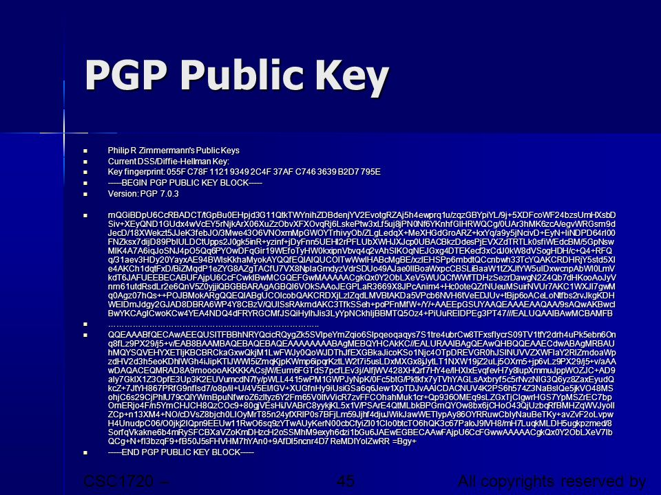 PGP Public Key CSC1720 – Introduction to Internet