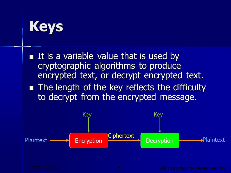 Keys It is a variable value that is used by cryptographic algorithms to produce encrypted text, or decrypt encrypted text.