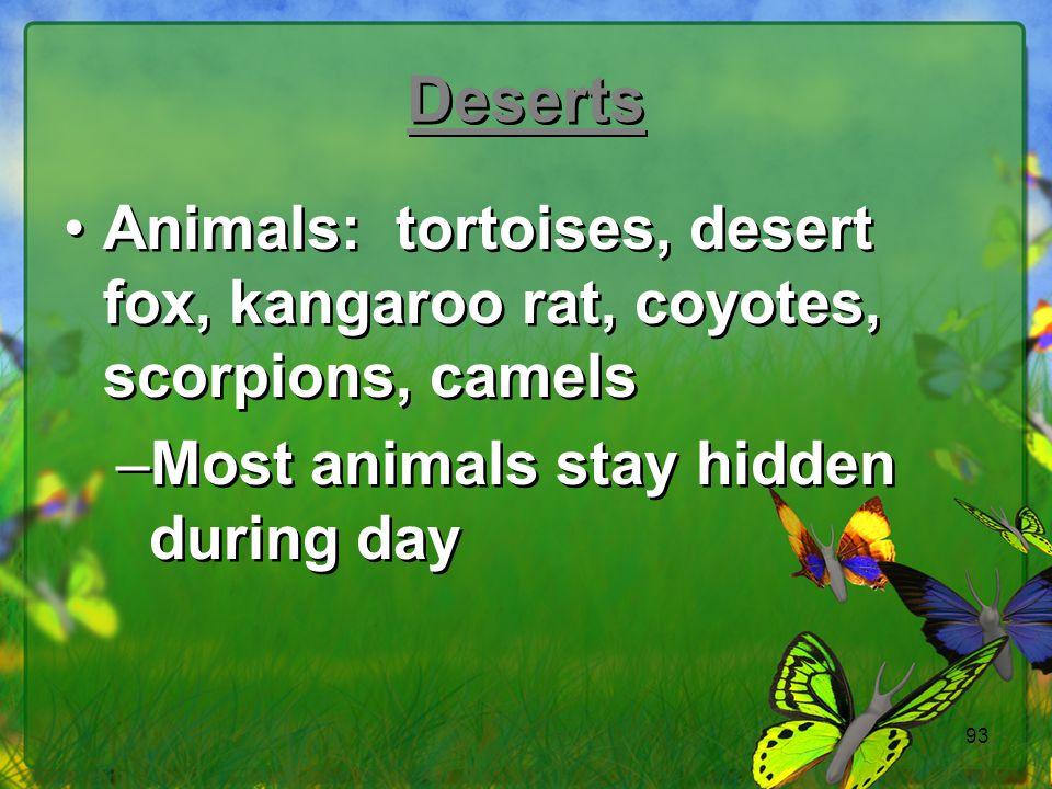 Deserts Animals: tortoises, desert fox, kangaroo rat, coyotes, scorpions, camels.