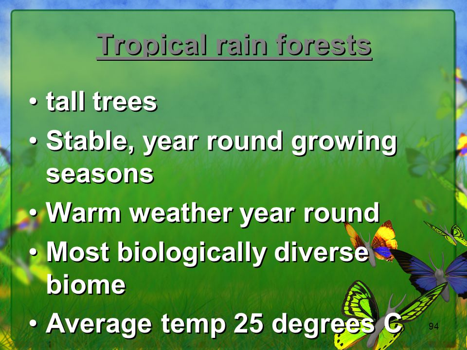 Tropical rain forests tall trees Stable, year round growing seasons