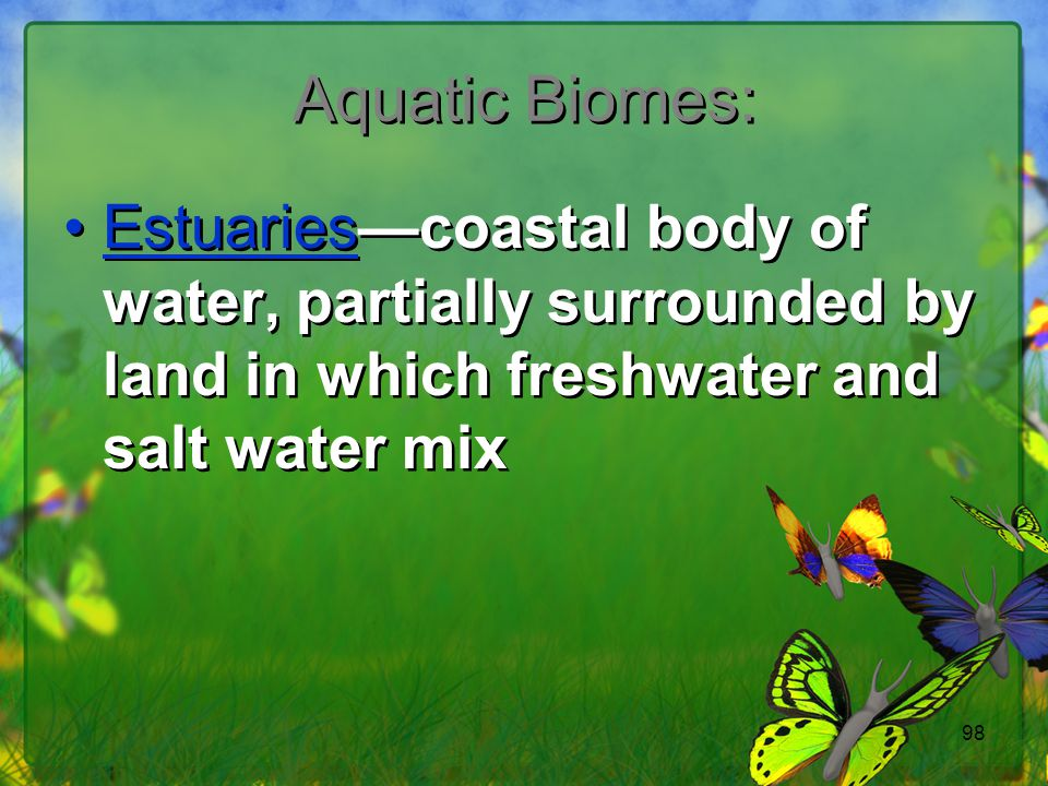 Aquatic Biomes: Estuaries—coastal body of water, partially surrounded by land in which freshwater and salt water mix.