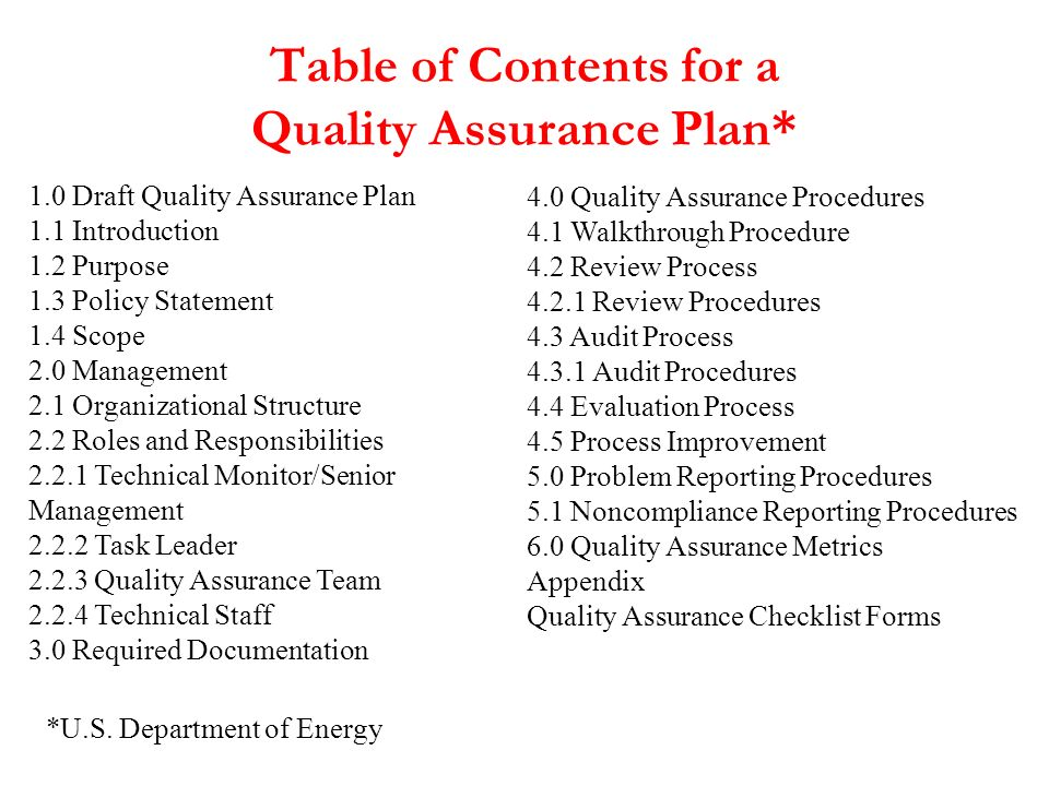 Table of Contents for a Quality Assurance Plan*