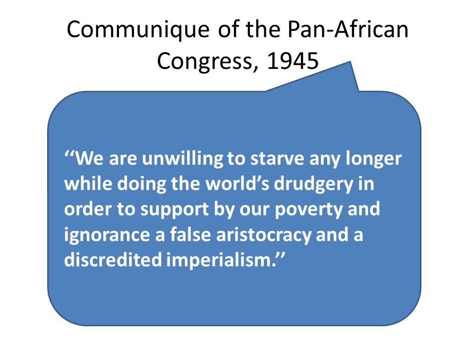 Communique of the Pan-African Congress, 1945