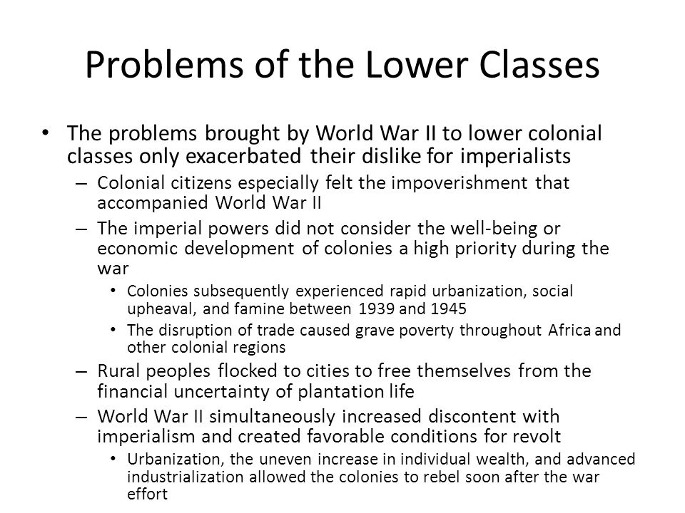Problems of the Lower Classes