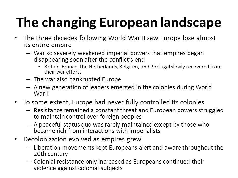 The changing European landscape