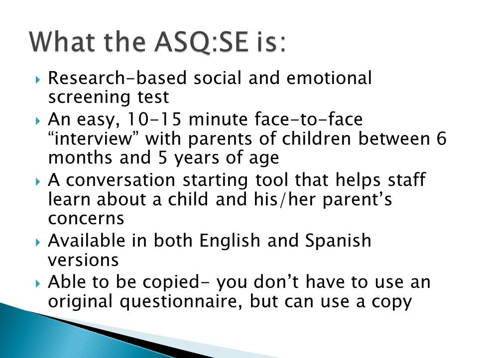 What the ASQ:SE is: Research-based social and emotional screening test