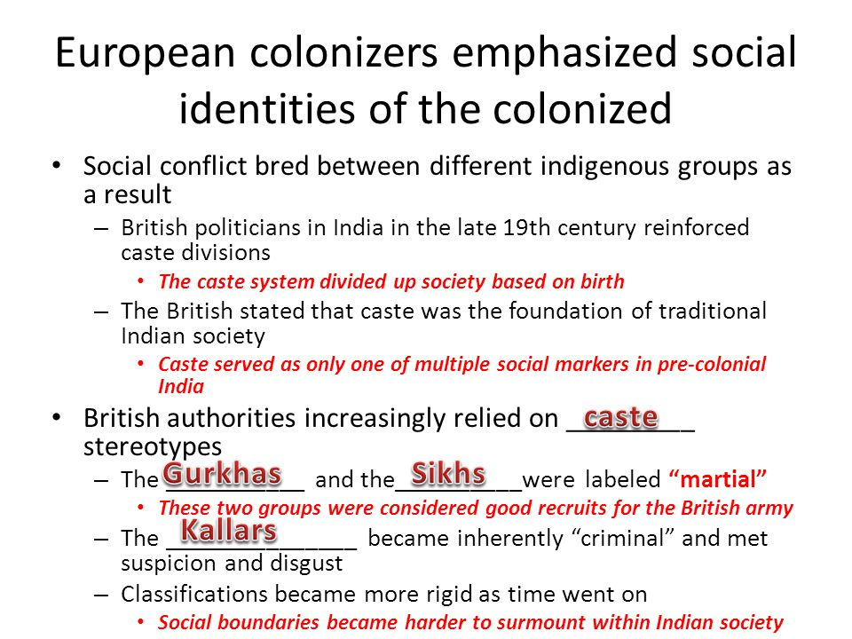 European colonizers emphasized social identities of the colonized