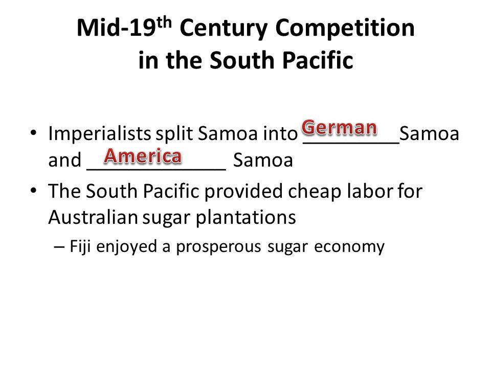 Mid-19th Century Competition in the South Pacific