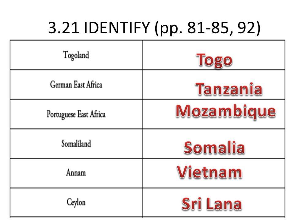 3.21 IDENTIFY (pp. 81-85, 92) Togo Tanzania Mozambique Somalia Vietnam Sri Lana