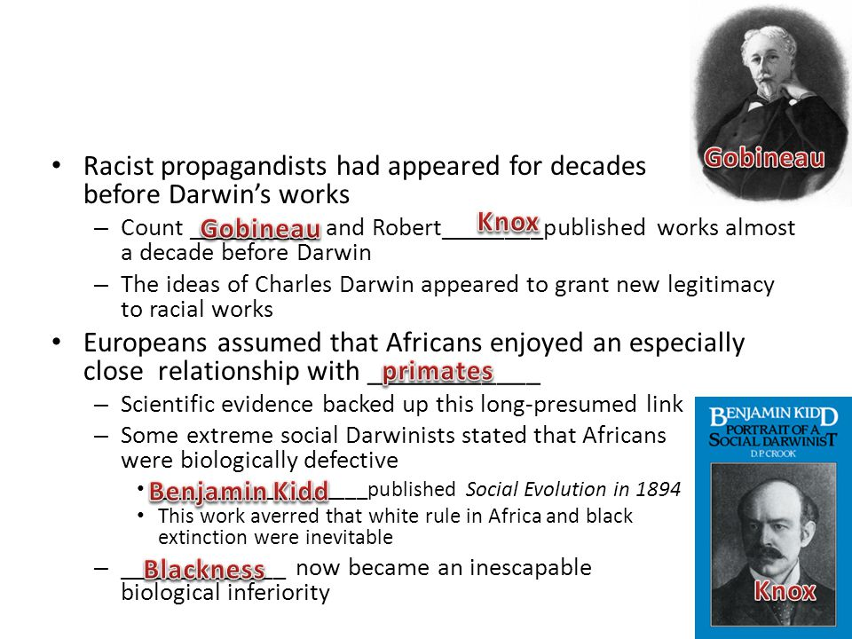 Racist propagandists had appeared for decades before Darwin's works