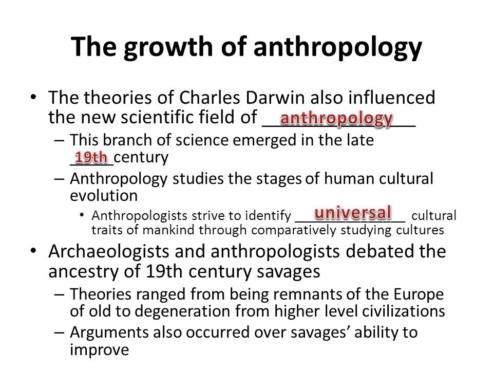 The growth of anthropology