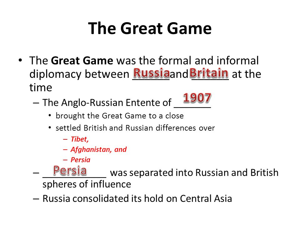 The Great Game Russia Britain 1907 Persia